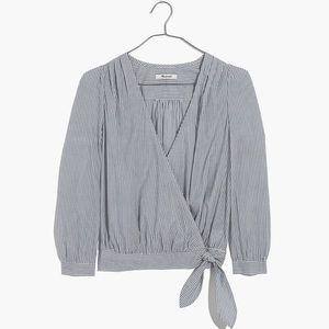 Madewell wrap top in indigo stripe